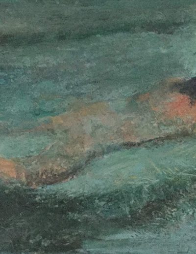 Lone Swimmer. 35x25cm. Oils.