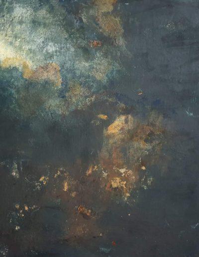 Jude Nixon, Northern lights study. 40x40cm. Pigment and size.