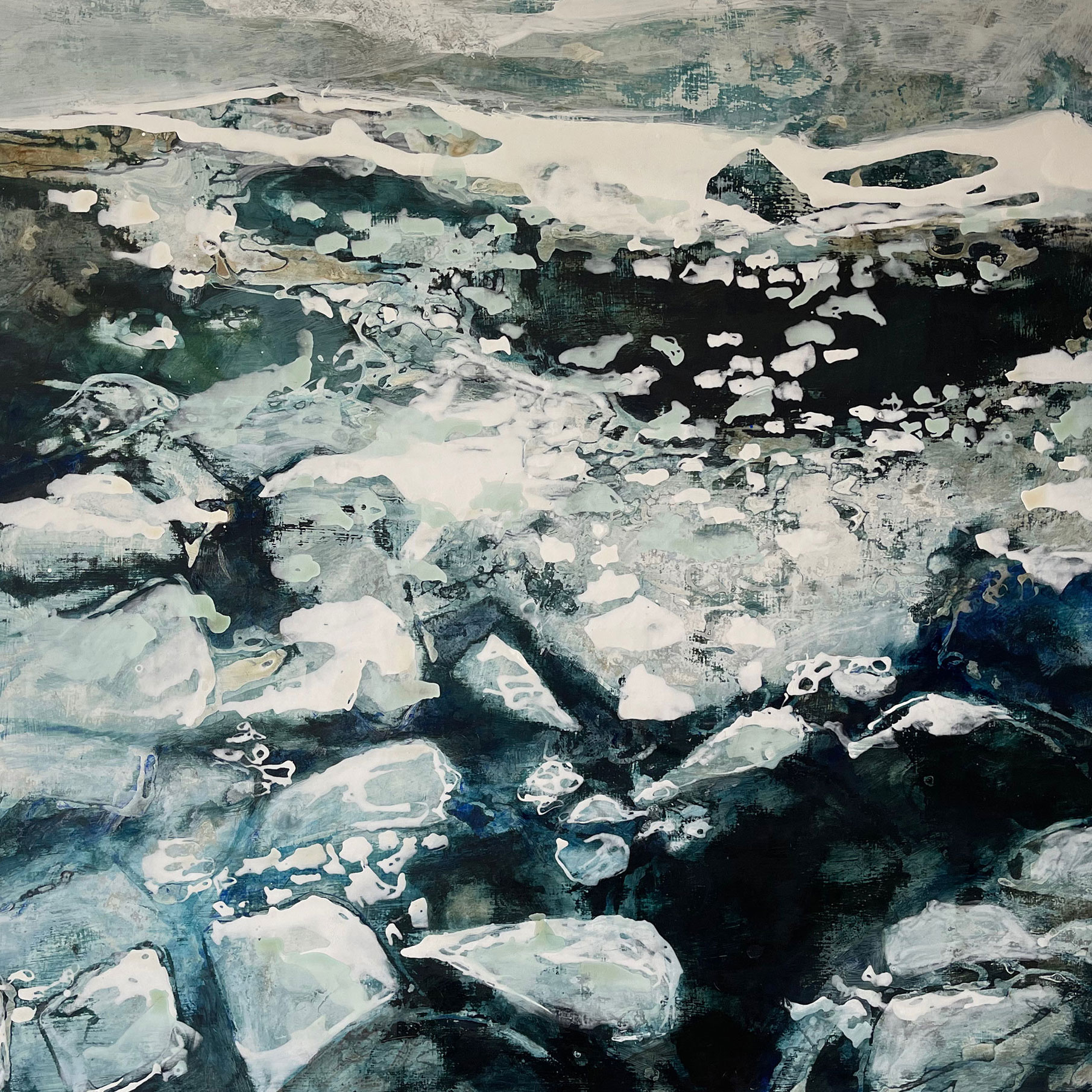 Spring thaw, 24cm x 24cm, Pigment, gesso and size on board
